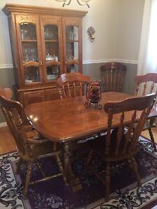 Solid oak dining room set.