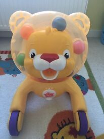 Ride on and push-along walker- Bright starts 3 in 1 step and ride lion