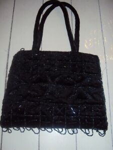 New woman's black beaded dress purse