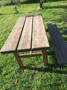 Solid Wood Table with attached Bench
