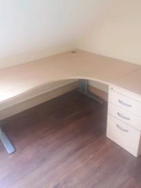 Managers corner office desk with matching desk high pedestal