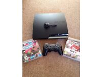 PS3 250gb + controller + Bluetooth headset + 14 games and 2 microphones