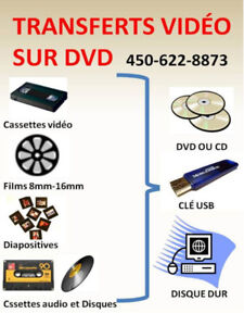 Transferts video sur dvd ou clé usb