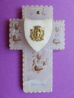 Image of 002 Petite croix en albâtre Décor peint Souvenir Notre Dame de Lourdes