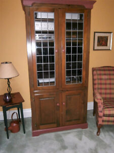 Stereo/TV cabinet with leaded glass doors