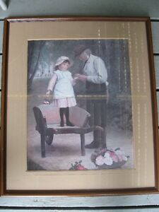 Large Framed Picture Gardener and Little Girl