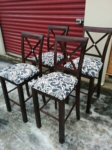 Set Of FOUR Solid Wood Counter/Height Stools