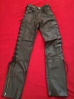 WOMEN'S BLK LEATHER BIKE PANTS