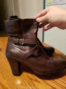 Clarks brown leather booties, sz11