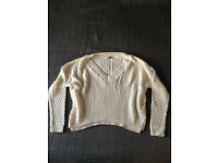 Cream slouchy fit knitted jumper size 8
