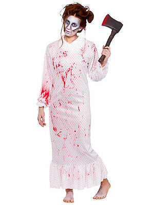 Adult Ladies Zombie Nightmare Night Gown Halloween Horror Fancy Dress Costume