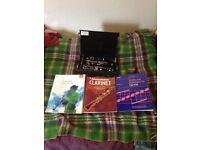 Clarinet, case and books etc