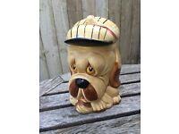 Stoneware vintage cookie dog jar