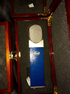 Blue Blueberry Mic with wooden box and Rycote shock mount