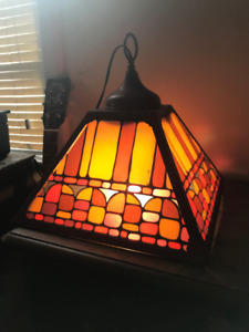 Vintage Retro Tiffany-esque Hanging Painted Glass Bar Lamps x 2