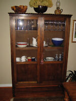 Oak Antique French Armoire with glass doors and multiple shelves