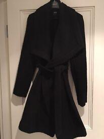 Oasis Black Belted Wool Swing Coat size Small BNWT