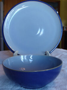 DENBY STONEWARE EVERYDAY BLUE DINNER PLATE & BOWL