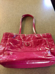 Genuine Hot Pink Patent Leather Coach Diaper/Laptop/Shoulder Bag