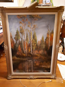 Amazing old painting by Blow of birch trees - with brass light