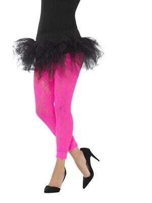 neon pinke Spitze Damen Kostüm Einheitsgröße (80er Jahre Neon Accessoires)