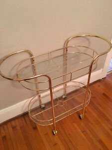 Vintage gold metal w glass bar cart