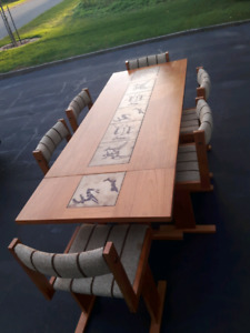 Scandinavian vintage teak table with inlay tiles and 6 chairs