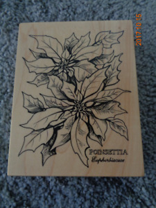 Christmas Poinsettia Rubber Stamp - never used