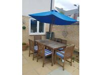 Garden table and chairs with parasol set
