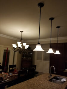 Chandelier  and pendant lights with bulbs for sale.