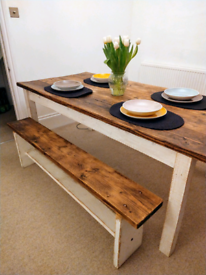 Beautiful farmhouse wooden dining kitchen table - delivery available