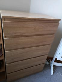 Ikea KULLEN Oak chest with five drawers