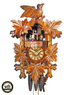 Original Schwarzwälder Kuckucks-Uhr/Schwarzwald-Uhr 1-Tag Musik Vogel Kukuks-Uhr