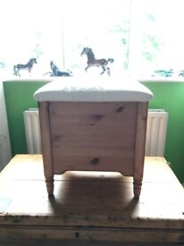 Good solid pine dressing table stool with lift up lid