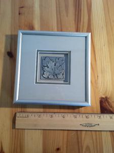 Pewter Maple Leaf Art Framed Sculpture