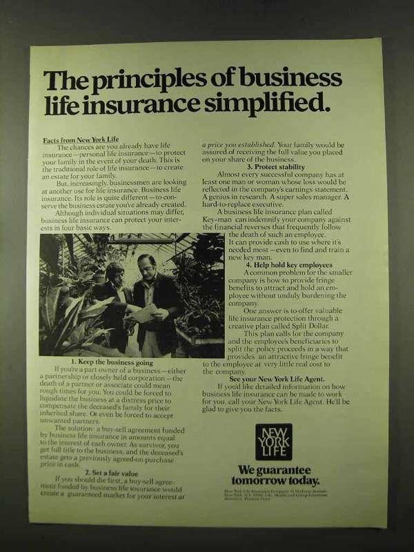 1973 New York Life Insurance Ad - Principles Simplified