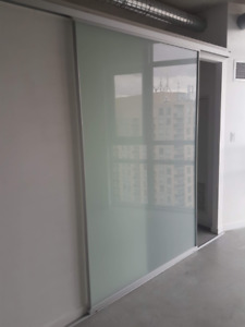 XL Interior Glass Sliding Door - MINT Condition, hardware incl.