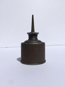 Antique miniature oil can, 48mm dia. 85mm tall