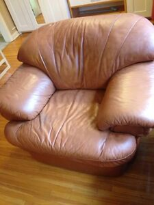 Comfy 100% leather 1.5 seater couch, lol