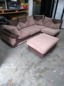 Beige and brown corner sofa + footstool