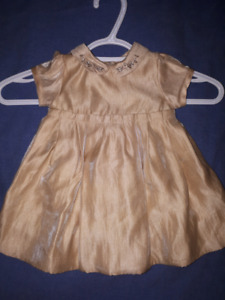 Gold Holiday Christmas Baby Girls Dress Size 3/6mts EUC