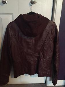 Stylish Burgundy Faux Leather Jacket with Hood St. John's Newfoundland image 2