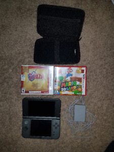 Black Nintendo 3DS XL with 2 games, carrying case, and charger