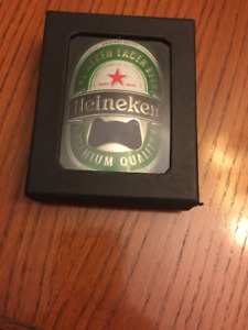 Heineken Metal Bottle Opener With Key Chain, Brand New In Box