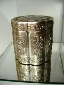 1890 FINE antique Chinese STERLING SILVER Tea Caddy  MOP Canton