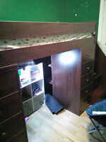 Twin bed with built in Drawers/Shelves/Cubby area