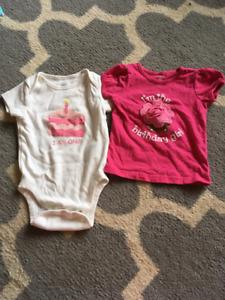 12 months girl birthday onesie and shirt