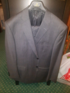 Mens grey pin stripes Suit Jacket and Pants