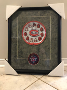 Framed Montreal Canadiens Plate and Puck Set