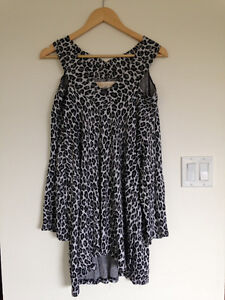 Leopard print Dianne Kennedy long top with cut out shoulders